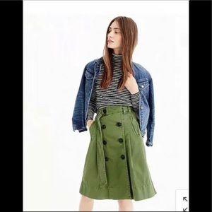 J.Crew Green Chino Trench Skirt